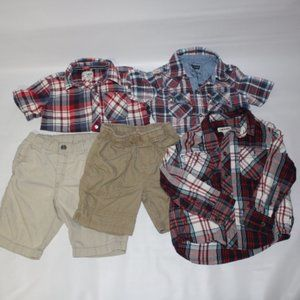 5 for $25 Lot of boys Summer Plaid Shirts &Shorts